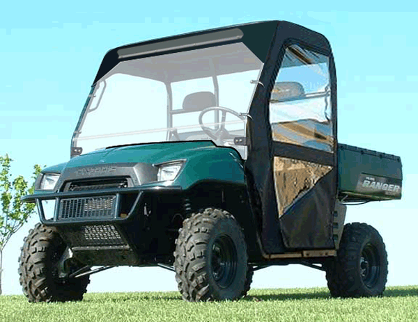UTV Front Windshield Waterproof Soft Windshield with Zipper Compatible with 2002-2008 Polaris Ranger